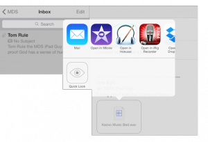 "After you email audio to yourself, click-n-hold on the audio icon to see the ""Open in...."" box. Select iMovie......."